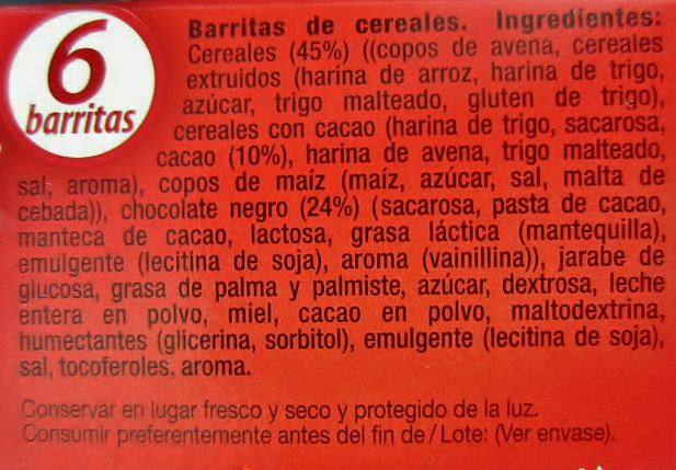 Ingredientes barrita de cereales